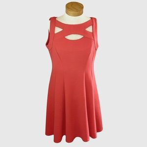 Gabby Skye Coral Cutout Fit & Flare Dress